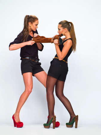 two girls in the studio shooting Stock Photo - 17669781