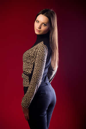 a girl model in the studio on the set photo