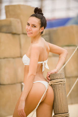 a girl in a swimsuit at the water park photo