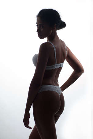 Photo African-American girl in beautiful underwear photo