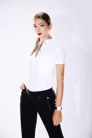 Beautiful woman on a white background Stock Photo