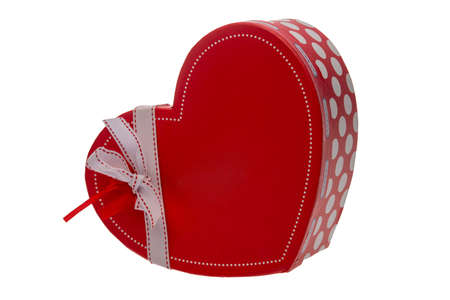 Red box in form of heart on a white background isolation
