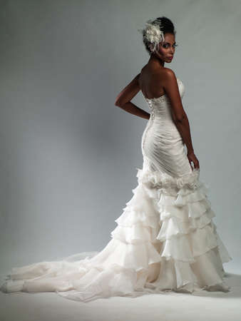 young beautiful African-American woman in a wedding dress Stock Photo