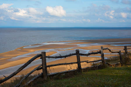 Dereyany fence on the bank of the Volga River Stock Photo
