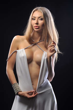 beautiful breasts: Charming girl with beautiful breasts