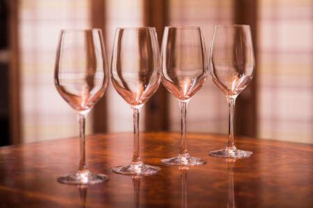 empty wine glasses in a restaurant Stock Photo