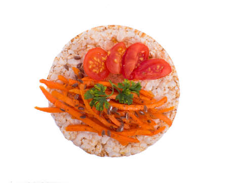 Sandwich with tomato and carrot in a rice bread