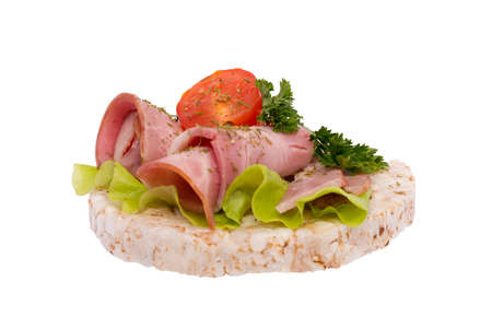Sandwich with sausage and herbs on bread Stock Photo