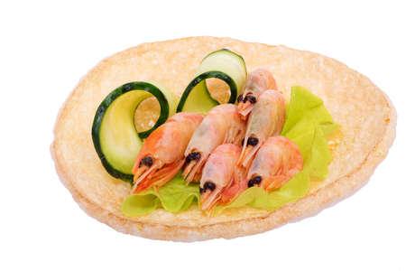 Boiled shrimp on rice bread Stock Photo