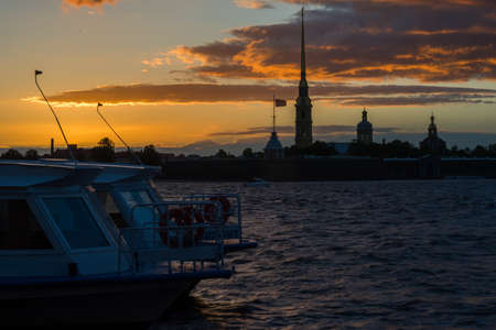 The boat and the quay in St. Petersburg