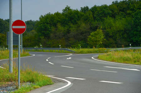 Highway. Highway and road sign No Entry. Stock Photo