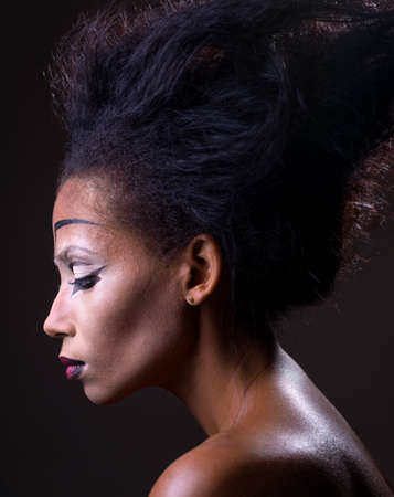 The original make-up of African-American girl Stock Photo