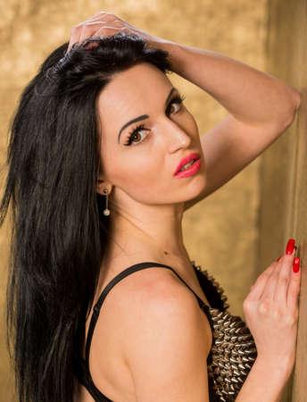Beautiful woman in erotic lingerie in the interior