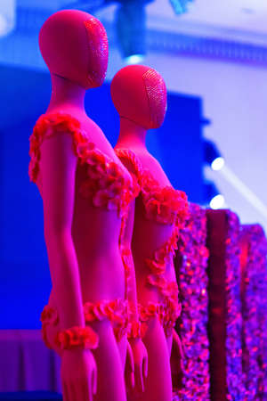Red female mannequin on a blue background
