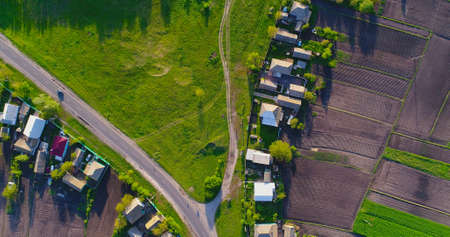 Road in the village from a birds-eye view.