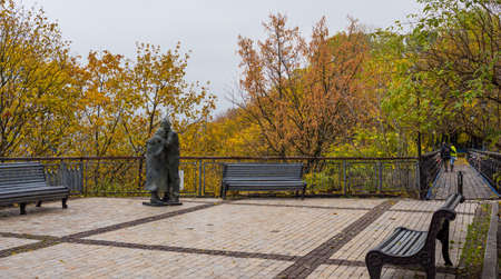 Monument to a man and a woman in the park of the city of Kiev.Ukraine