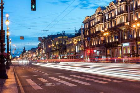 Night glowing city Petersburg. Russia