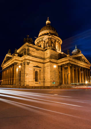 Night view of St. Isaacs Cathedral. St. Petersburg. Russia. Stock Photo