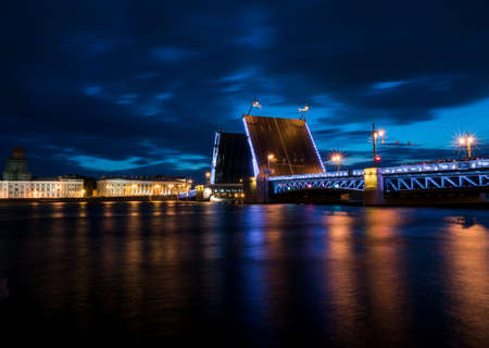 Night view of the bridge in St. Petersburg. Russia.