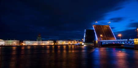 Night view of the drawbridge in St. Petersburg. Stock Photo
