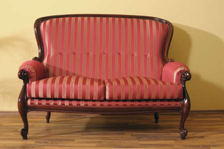 interrior: luxury sofa for elegant houses, flats. Laminate parquets Stock Photo