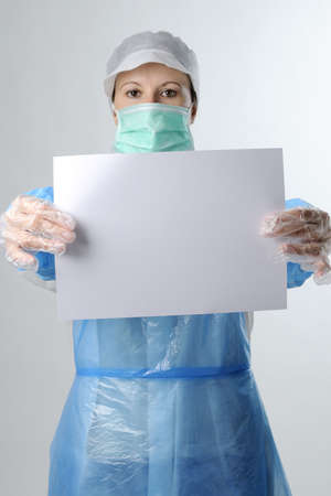 woman showing white paper Stock Photo - 6053344