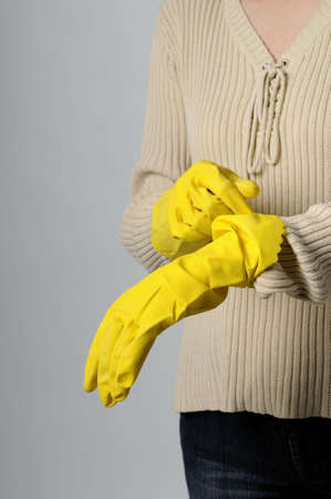 yellow gloves for cleaning photo