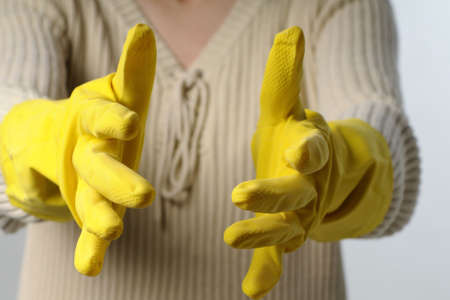 closeup with yellow gloves photo