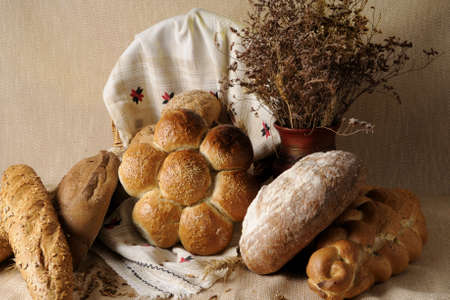composition with bread isolated photo