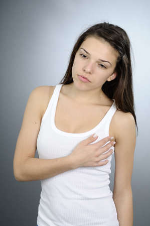 unhealthy woman having breast cancer