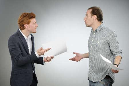 chief explaining contracts Standard-Bild