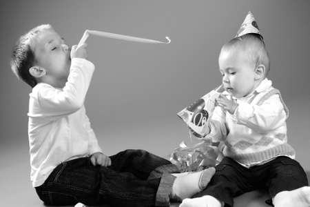 kids celebrating birthday Stock Photo