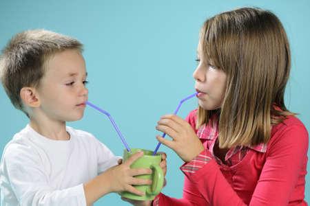 children drinking juice Stock Photo - 8440710