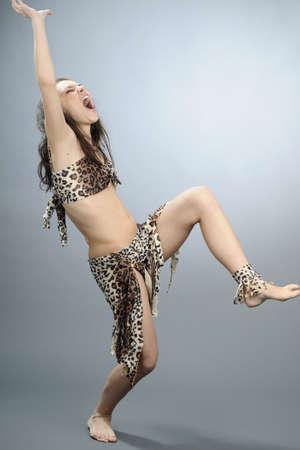 savage: savage woman dancing  Stock Photo
