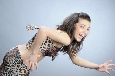 simulating: woman simulating running Stock Photo