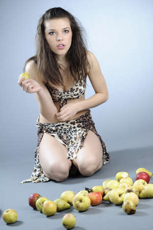 skinny woman: skinny woman preparing to eat apples Stock Photo