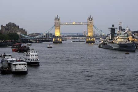 illuminated london bridge photo