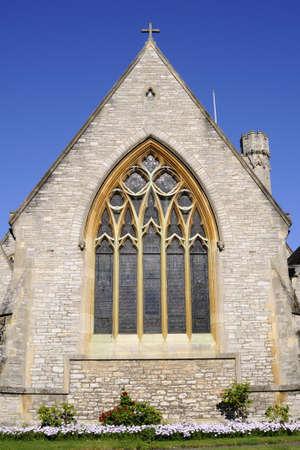 church window against blue sky photo
