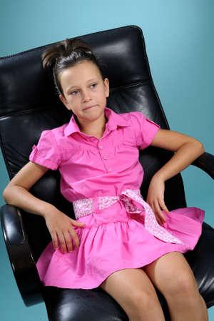 beautiful little girl listening photo