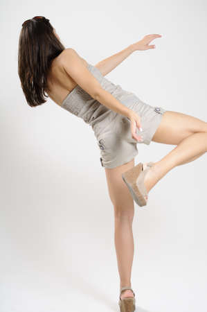 simulating: woman simulating equilibrium