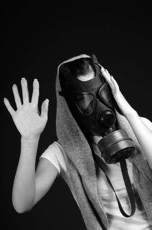woman showing mask photo