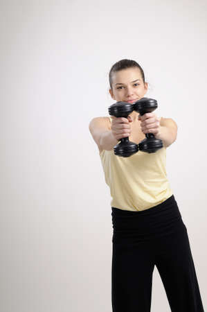 fitness instructor working out with equipment  Stock Photo - 8756312