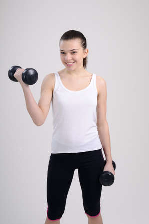 happy fitness trainer exercising photo