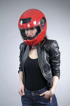 white young motorcyclist posing