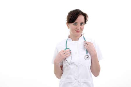 Lächelnd Arzt üben mit Stethoskop Standard-Bild - 9263532