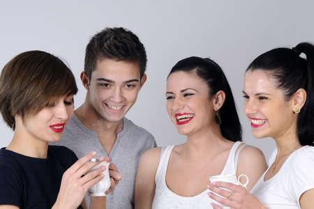 white teens drinking and smoking photo