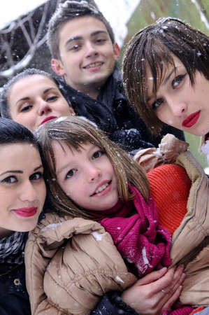 young people portraits in winter photo