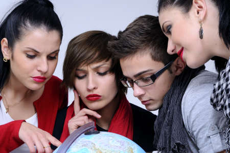 students searching travel destinations photo
