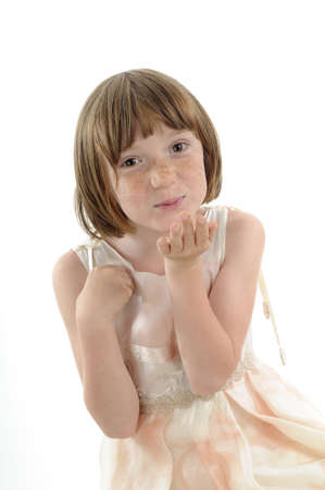 freckled girl offering kiss Stock Photo - 9739401
