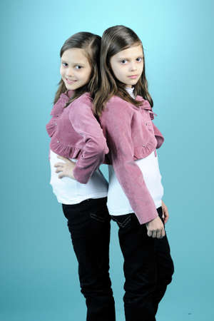 beautiful twins posing as models Stock Photo - 9751394